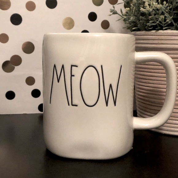 Rae Dunn MEOW white ceramic mug